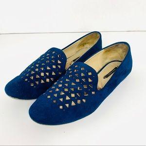 Zara Blue Suede Loafers 38